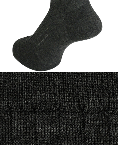 RIBBED WOOL DRESS SOCKS - Fine Gauge