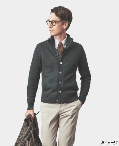 低织立领开衫毛衣