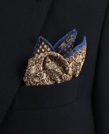 リネンシルクポケットチーフ/両面ダブルプリント イタリア製
