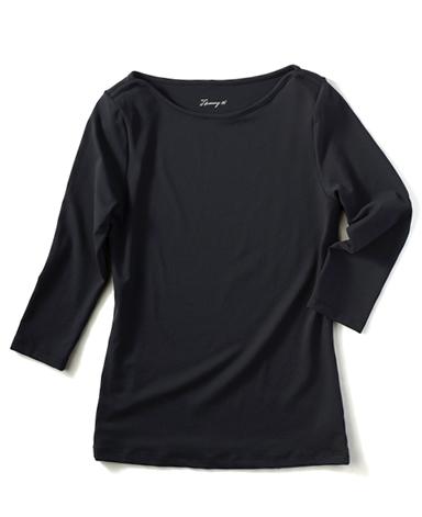 ボートネック七分袖カットソー/ブラック