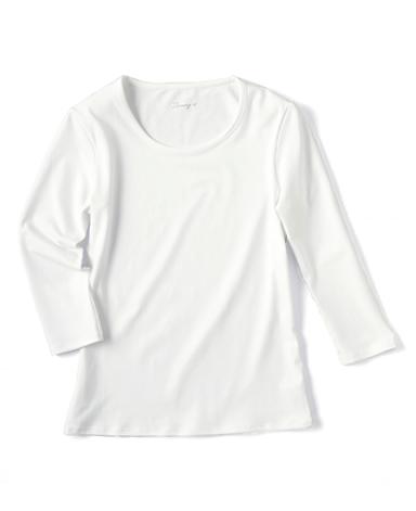 クルーネック七分袖カットソー/ホワイト