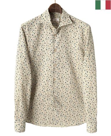 ナポリリネンシャツ/イタリア製(スプレッドカラー)