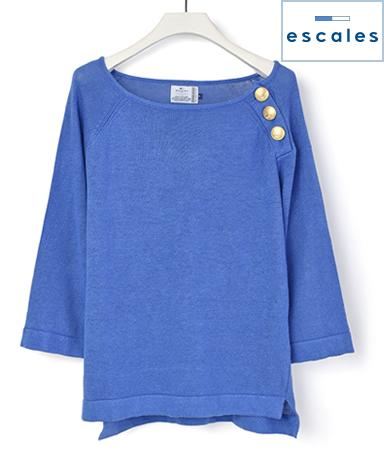 ESCALES/リネンラグランスリーブセーター