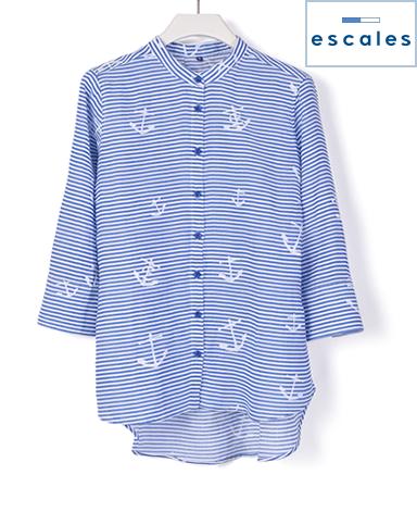 ESCALES/スタンドカラーシャツ