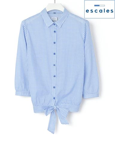 ESCALES/ギンガムチェックシャツ 裾リボン