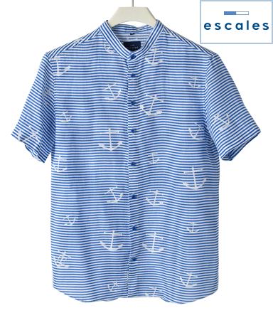 ESCALES/スタンドカラーシャツ(半袖)