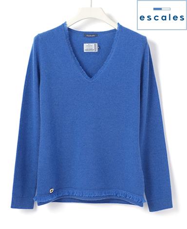 ESCALES/カシミヤフリンジセーター
