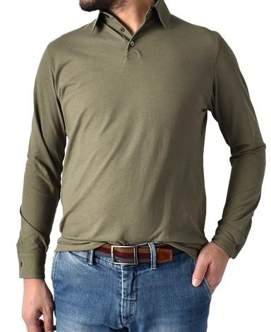強撚長袖ポロシャツ