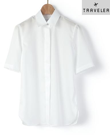 半袖比翼シャツ/ドビー