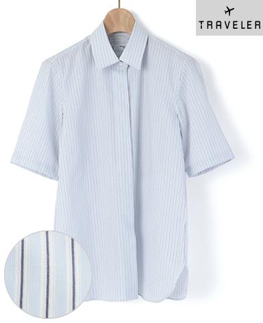 半袖比翼シャツ/平織り