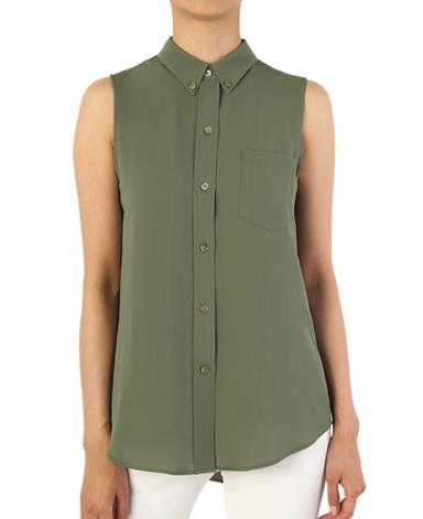 ノースリーブボタンダウンシャツ/トリアセテート