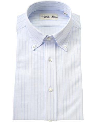 ストライプニットシャツ/ダブルニット