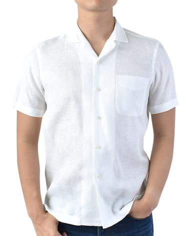 半袖リネンシャツ/オープンカラー