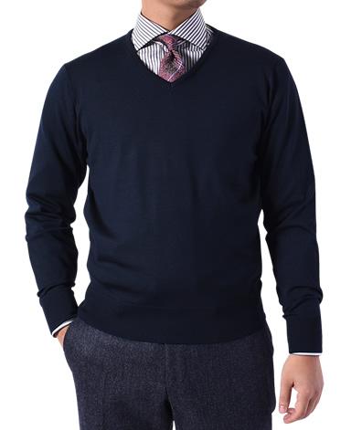 Vネックセーター/18G(ゲージ)