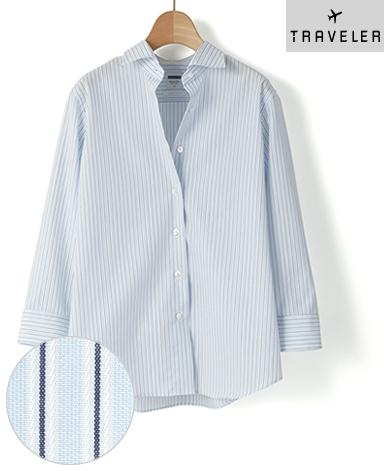七分袖 マンハッタンクラシックシャツ/ドビー
