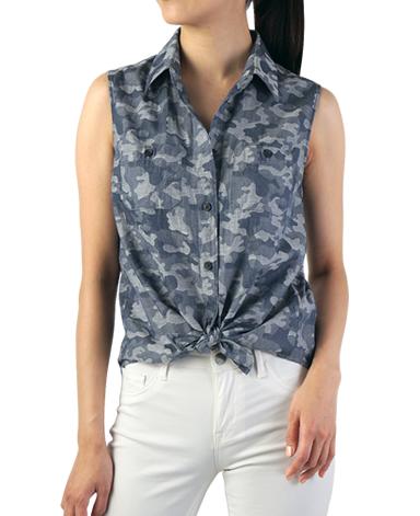 両胸ポケット付き ノースリーブシャツ/カモフラージュ柄