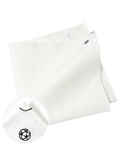 リネンポケットチーフ/サッカーモチーフ刺繍