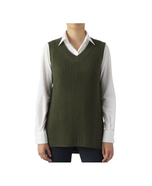 长款针织毛衣背心